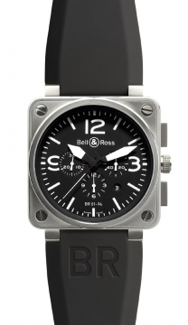 Bell & Ross BR01-94 Chronograph 46mm Mens watch, model number - BR01-94 Steel Black, discount price of £3,330.00 from The Watch Source