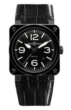 Bell & Ross BR03-92 Automatic 42mm Mens watch, model number - BR03-92 Black Ceramic Alligator, discount price of £2,790.00 from The Watch Source