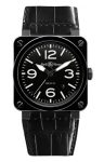 Bell & Ross BR03-92 Automatic 42mm BR03-92 Black Ceramic Alligator watch