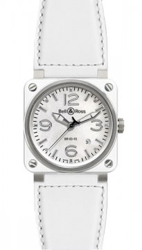 Bell & Ross BR03-92 Automatic 42mm Mens watch, model number - BR03-92 White Ceramic Calfskin, discount price of £2,650.00 from The Watch Source