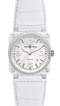 Bell & Ross BR03-92 Automatic 42mm Mens watch, model number - BR03-92 White Ceramic Diamonds Alligator, discount price of £3,919.00 from The Watch Source