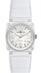 Bell & Ross BR03-92 Automatic 42mm BR03-92 White Ceramic Diamonds Alligator watch