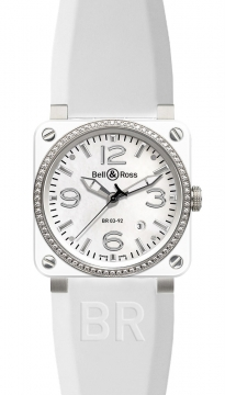 Bell & Ross BR03-92 Automatic 42mm Mens watch, model number - BR03-92 White Ceramic Diamonds Rubber, discount price of £3,748.00 from The Watch Source