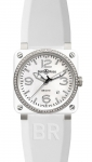 Bell & Ross BR03-92 Automatic 42mm BR03-92 White Ceramic Diamonds Rubber watch