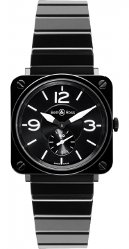 Bell & Ross BR S Quartz 39mm Midsize watch, model number - BRS Black Ceramic Bracelet, discount price of £2,133.00 from The Watch Source