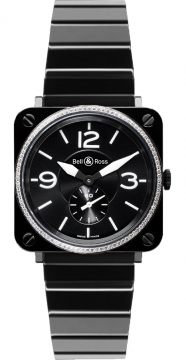 Bell & Ross BR S Quartz 39mm Midsize watch, model number - BRS Black Ceramic Diamond, discount price of £3,055.00 from The Watch Source