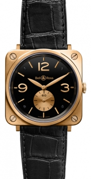 Bell & Ross BR-S Mechanical Gold 39mm Midsize watch, model number - BRS Pink Gold Black, discount price of £5,935.00 from The Watch Source