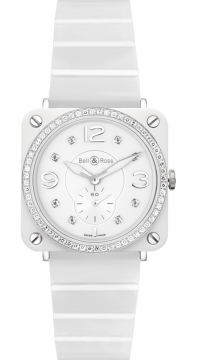 Bell & Ross BR S Quartz 39mm Midsize watch, model number - BRS White Ceramic Phantom Diamond Bracelet, discount price of £3,970.00 from The Watch Source