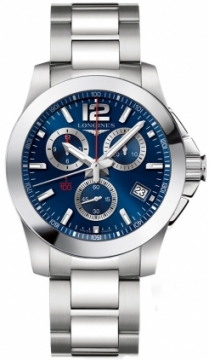 Longines Conquest Quartz Chrono 41mm Mens watch, model number - L3.700.4.96.6, discount price of £875.00 from The Watch Source