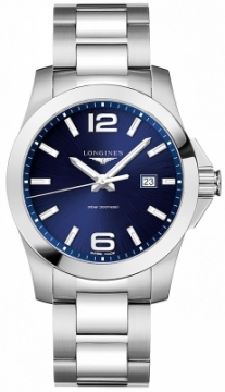 Buy this new Longines Conquest Quartz 43mm L3.760.4.96.6 mens watch for the discount price of £527.00. UK Retailer.