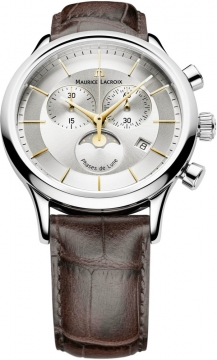 Maurice Lacroix Les Classiques Chronograph Phase de Lune Mens watch, model number - lc1148-ss001-132, discount price of £780.00 from The Watch Source
