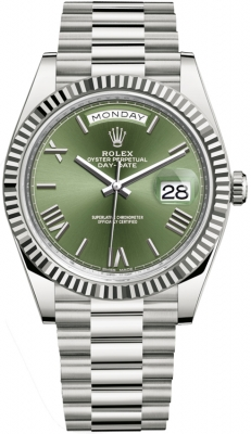 Rolex Day-Date 40mm White Gold 228239 Olive Green Roman watch