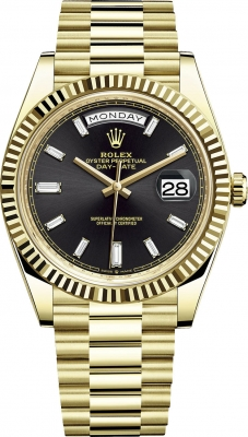 Rolex Day-Date 40mm Yellow Gold 228238 Black Baguette watch