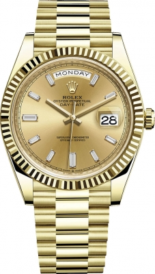 Rolex Day-Date 40mm Yellow Gold 228238 Champagne Baguette watch