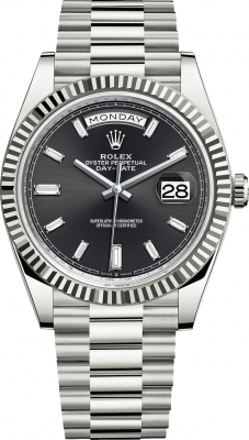 Rolex Day-Date 40mm White Gold 228239 Black Baguette watch