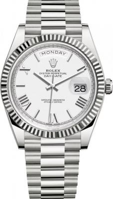 Rolex Day-Date 40mm White Gold 228239 White Roman watch