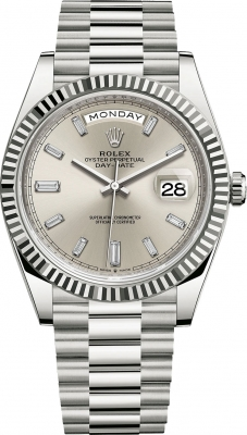 Rolex Day-Date 40mm White Gold 228239 Silver Baguette watch