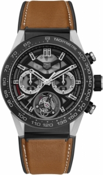 Buy this new Tag Heuer Carrera Calibre HEUER 02T Tourbillon Chronograph 45mm car5a8y.ft6072 mens watch for the discount price of £11,602.00. UK Retailer.