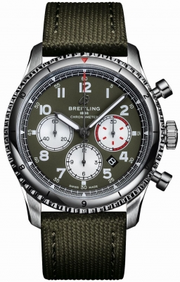 Buy this new Breitling Aviator 8 B01 Chronograph 43 Curtiss Warhawk ab01192a1L1x2 mens watch for the discount price of £5,170.00. UK Retailer.