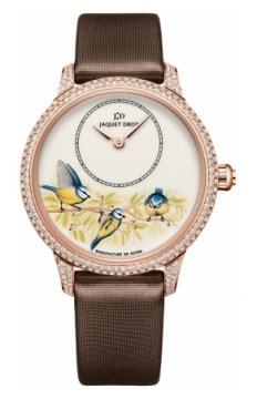Jaquet Droz Les Ateliers d'Art Petite Heure Minute Enamel Painting 35mm Ladies watch, model number - j005003501 BLUE BIRDS, discount price of £23,805.00 from The Watch Source