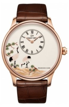 Jaquet Droz Les Ateliers d'Art Petite Heure Minute Enamel Painting 43mm Mens watch, model number - j005033226 WHITE CRANES, discount price of £20,475.00 from The Watch Source