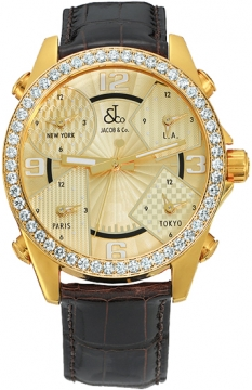 Jacob & Co Five Time Zone - 40mm, 2ct Bezel Mens watch, model number - JC-M10 2.00 carat bezel, discount price of £18,990.00 from The Watch Source