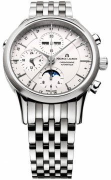 Buy this new Maurice Lacroix Les Classiques Chronograph Day Date Phase de Lune lc6078-ss002-13e mens watch for the discount price of £2,603.00. UK Retailer.