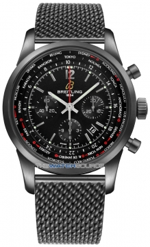 Breitling Transocean Chronograph Unitime Pilot Mens watch, model number - mb0510u6/bc80-ss BLACKSTEEL, discount price of £8,320.00 from The Watch Source