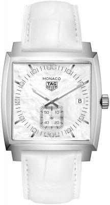 Buy this new Tag Heuer Monaco Quartz waw131b.fc6247 ladies watch for the discount price of £1,615.00. UK Retailer.