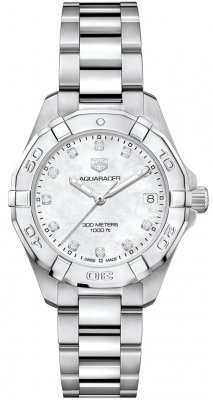 Buy this new Tag Heuer Aquaracer Quartz Ladies 32mm wbd1314.ba0740 ladies watch for the discount price of £1,525.00. UK Retailer.